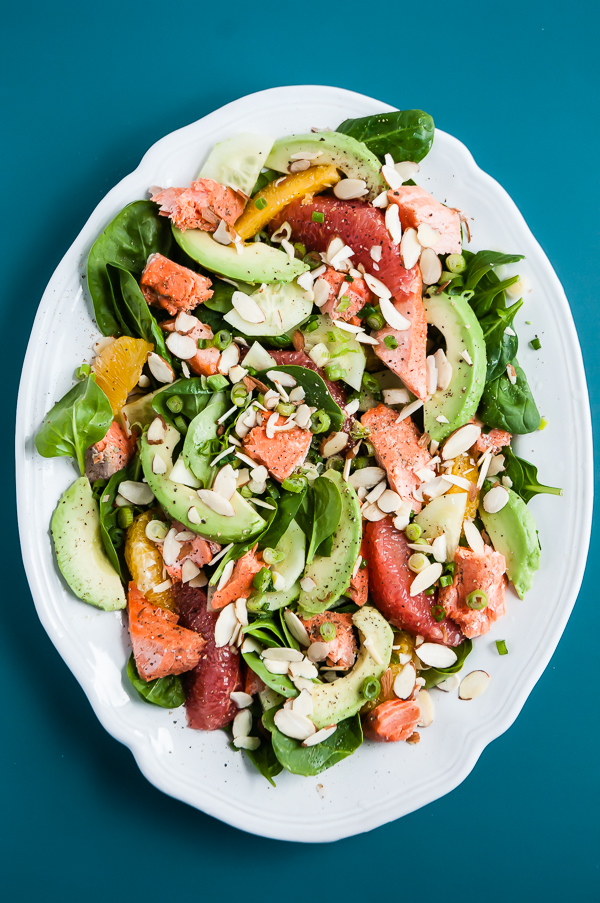 Heart Healthy Citrus-Avocado Salmon Salad Recipe | Cafe Johnsonia
