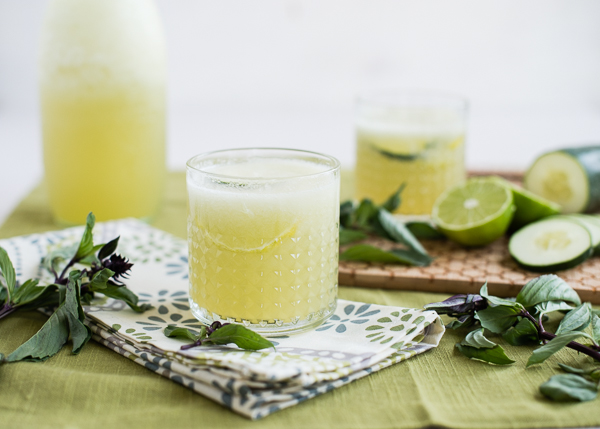 Cucumber Lime Slush with Thai Basil