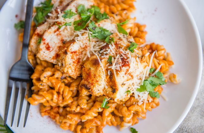 Gluten-Free Grilled Chicken Pasta with Red Pepper Sauce